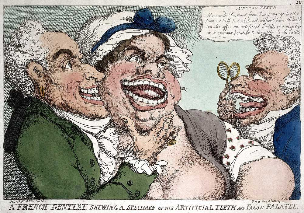 A cartoon on a dentist showing off a specimen of false teeth and palate on a woman