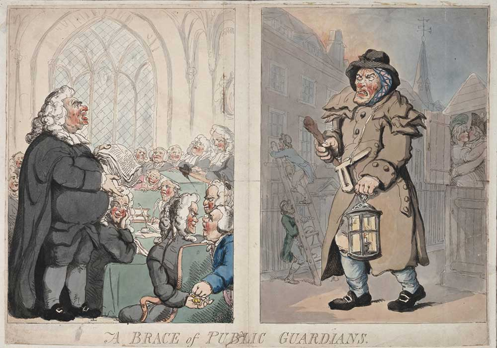 A cartoon on law and order, or the lack of it. A bribe given in a court of law and a watchman on duty with a burglary going on behind his back.