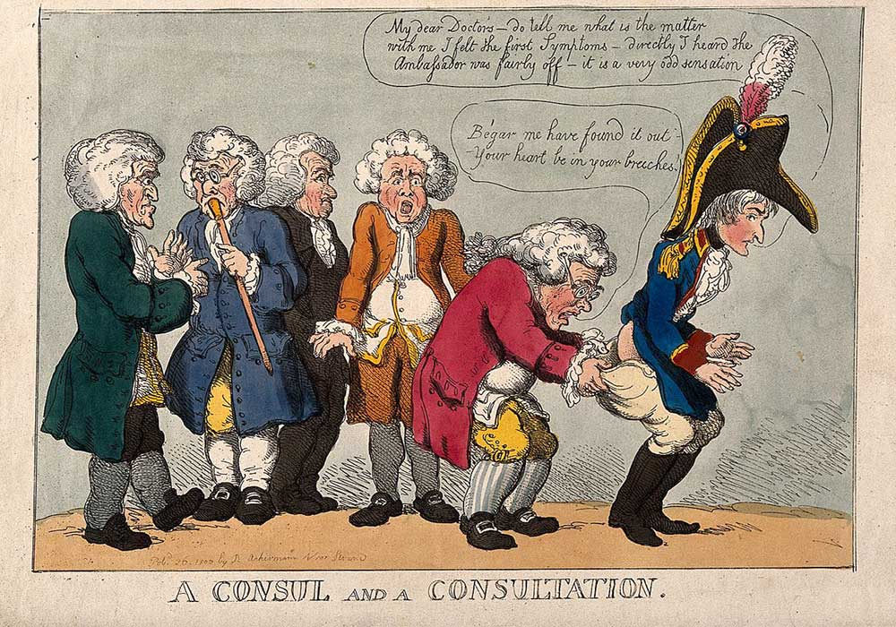 A cartoon on Napoleon in consulation with five doctors, one examining his rear end