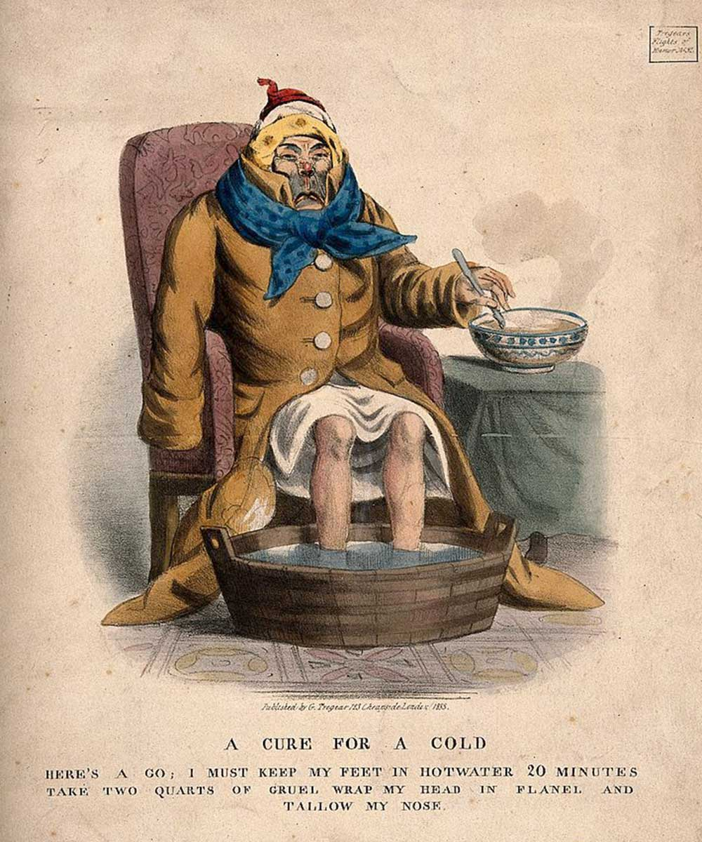 A cartoon on a  cure for a cold. A very ill man trying to get better.