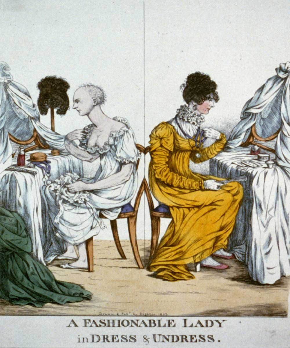 A cartoon on an almost bald fashionable lady preparing to dress