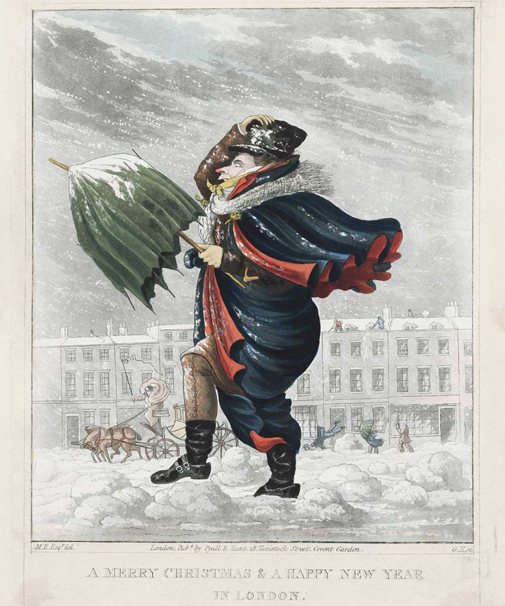 A cartoon on a man walking up against the snow in a snowstorm with an umbrella wishing a passerby a merry christmas and a happy new year.
