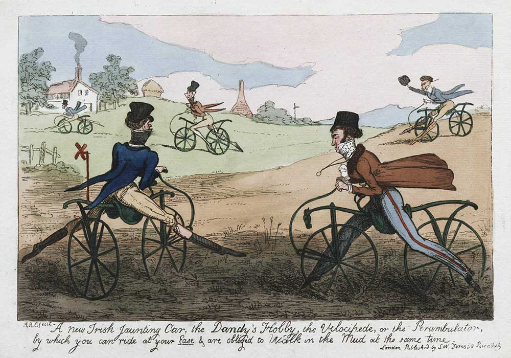 A cartoon on nicely dressed gentlemen doing cross country cycling