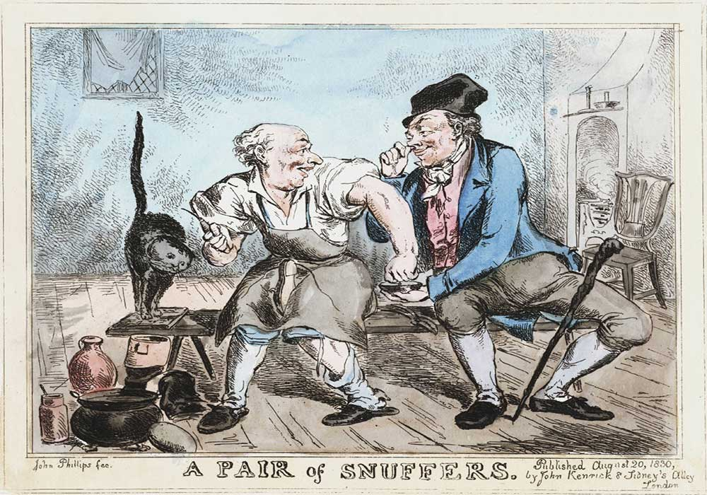 A cartoon on a pair sharing some snuff tobacco in between work.