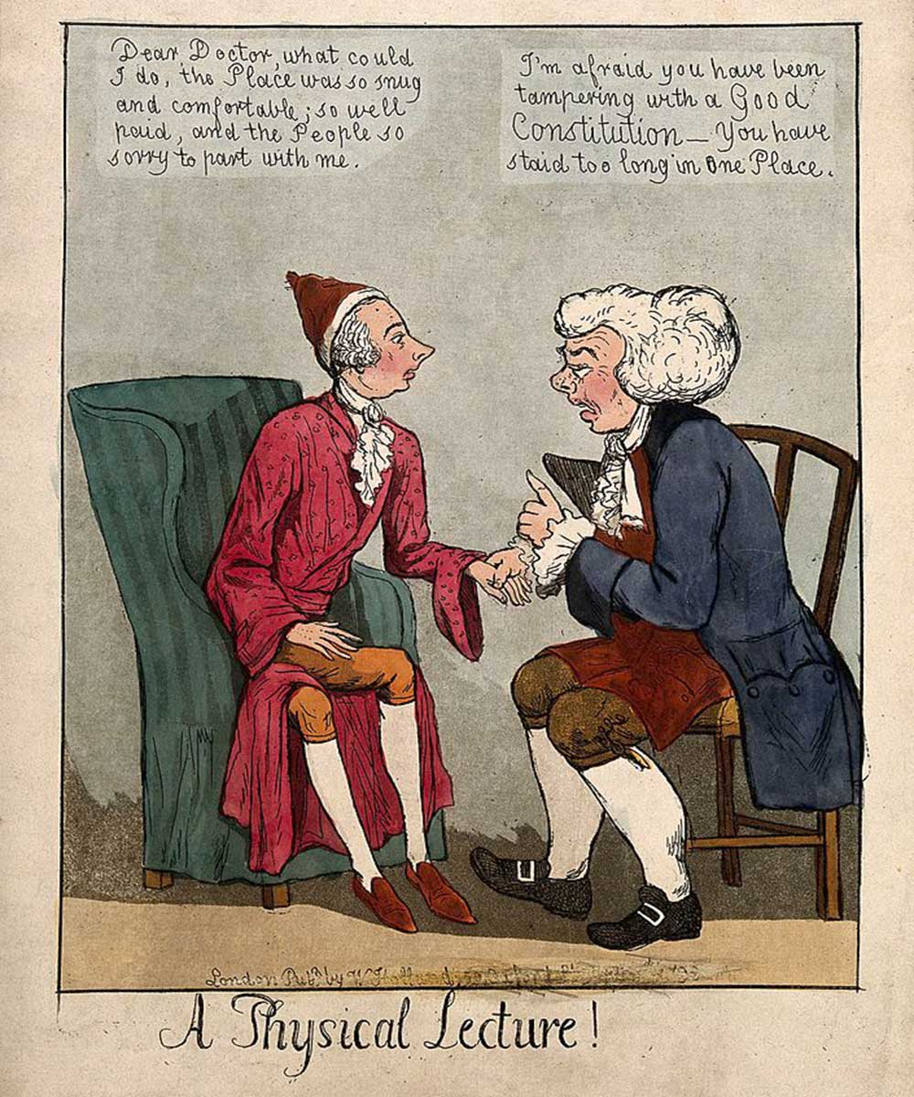 A cartoon on a doctor giving a physical lecture to a patient