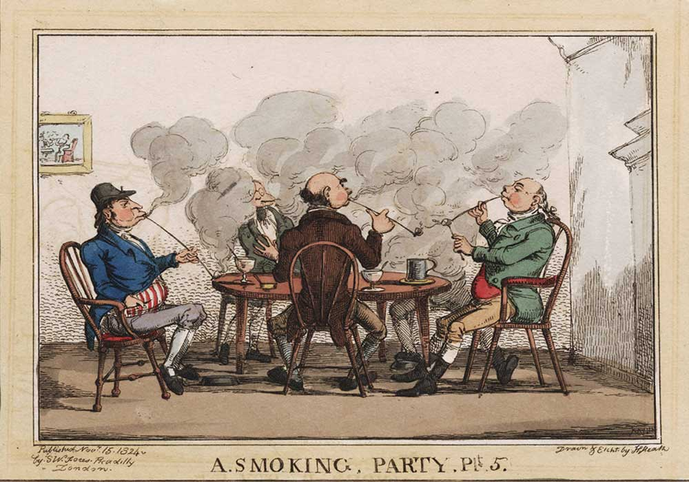 A cartoon on a smoking party with four men smoking a pipe filling the room with smoke