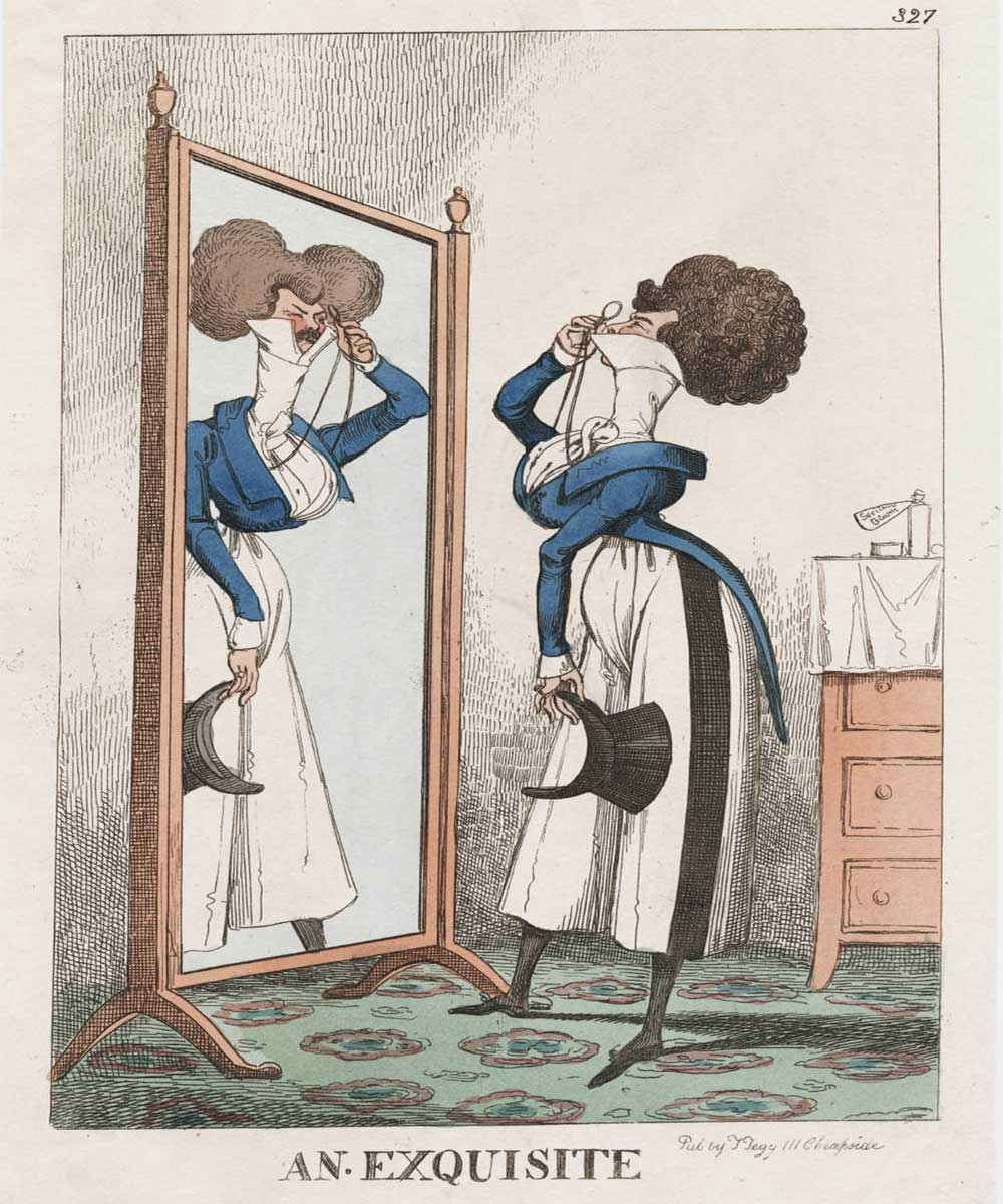 A cartoon on an exquisitely dressed vain man admiring himself in the mirror