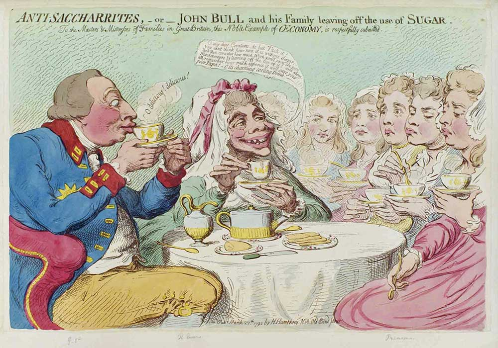 A cartoon on a family having tea. The parents drinking tea without sugar, urging their daughters to do the same.