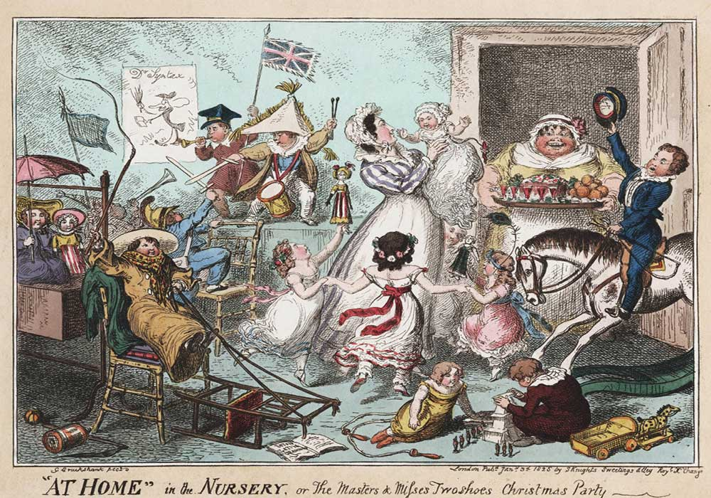 A cartoon on a Christmas party in the nursery, full of children creating chaos and the maid bringing in lemonade and treats