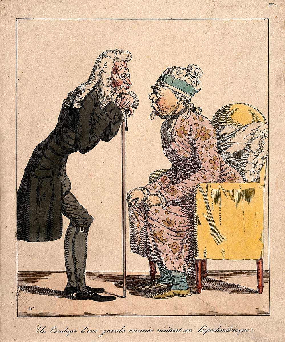 A cartoon on a bored physician checking the tongue of a hypochondriac old lady
