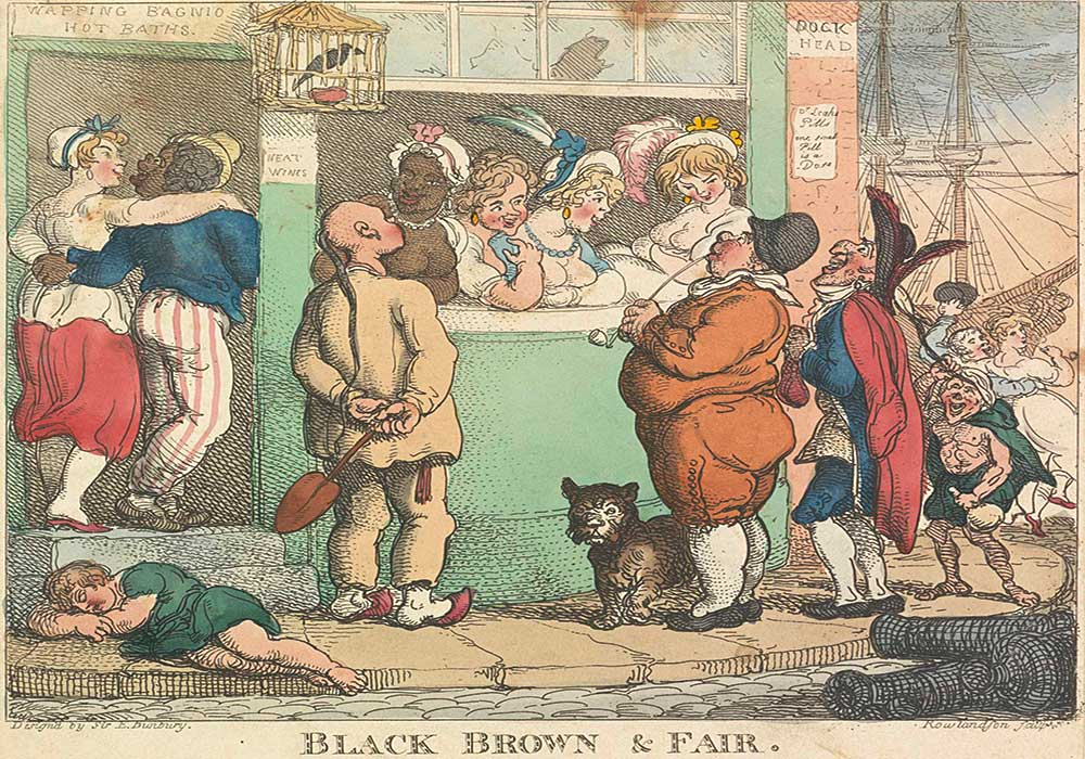 A cartoon on a brothel scene, with a variety of prostitutes luring in all sorts of men