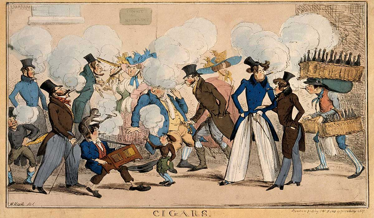 A cartoon on people causing a nuisance by smoking cigars in public