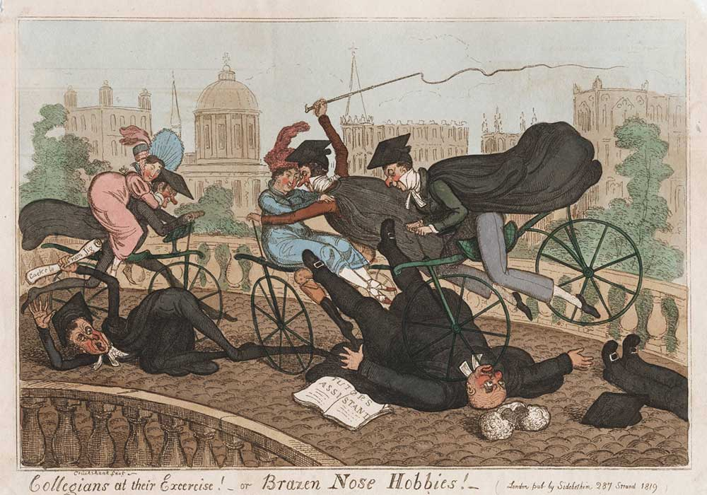 A cartoon on reckless driving on bicycles, causing accidents