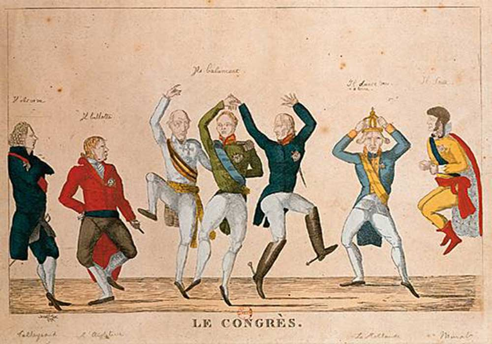 A cartoon on dancing and celebrating heads of state at the Congress of Vienna