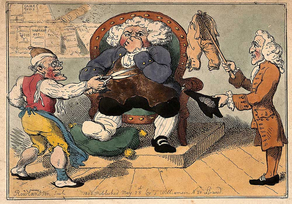 A cartoon on a court hearing in which a doctor refuses to pay his tailor for bad work on his breeches