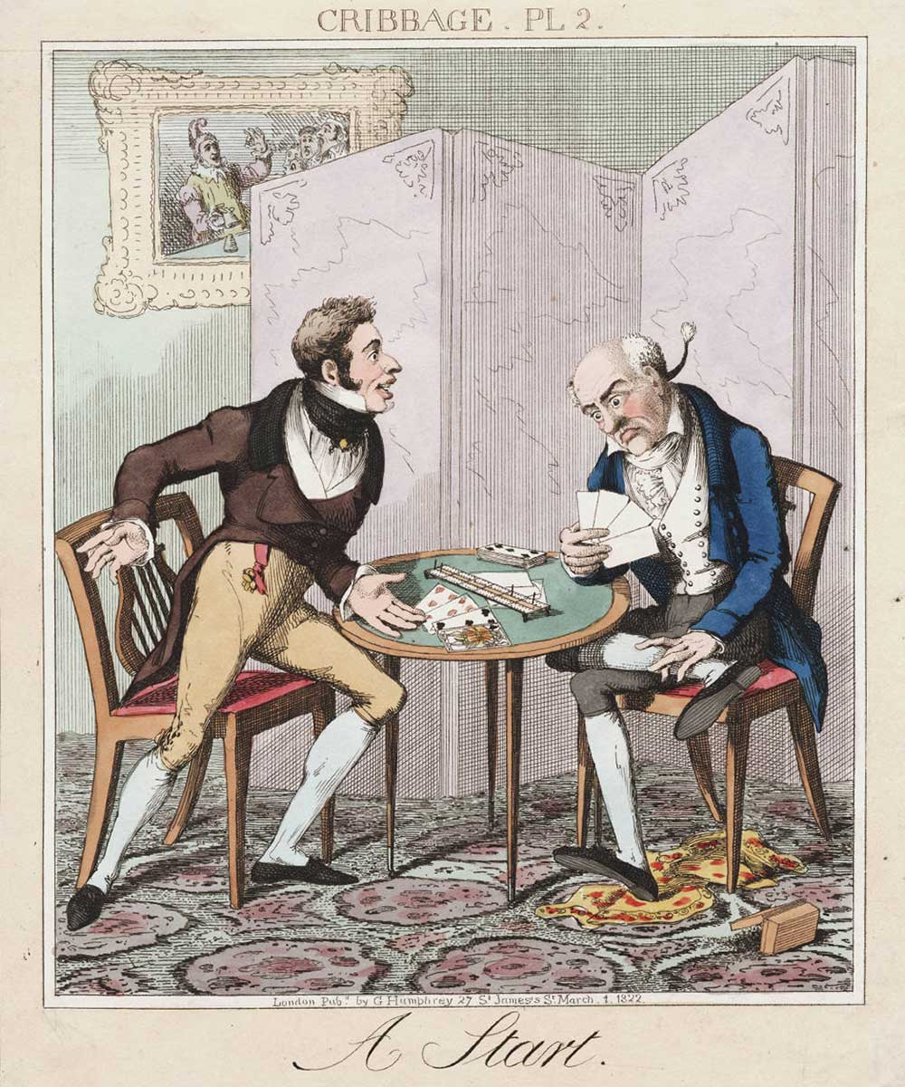 A cartoon on two gentlemen playing the card game cribbage. One player realising he has lost.