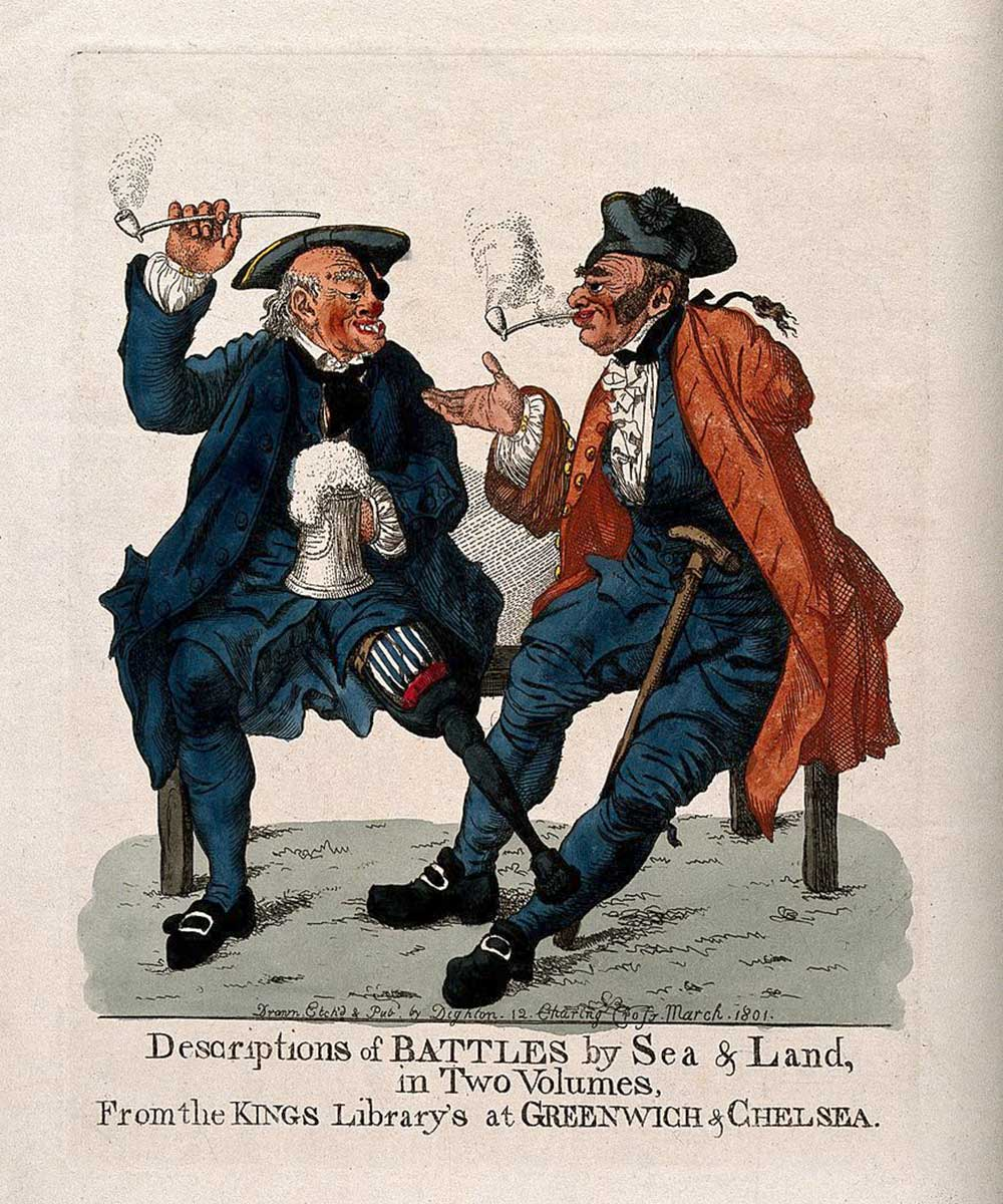 A cartoon on two disabled veterans having a smoke and a drink telling stories of their campaigns