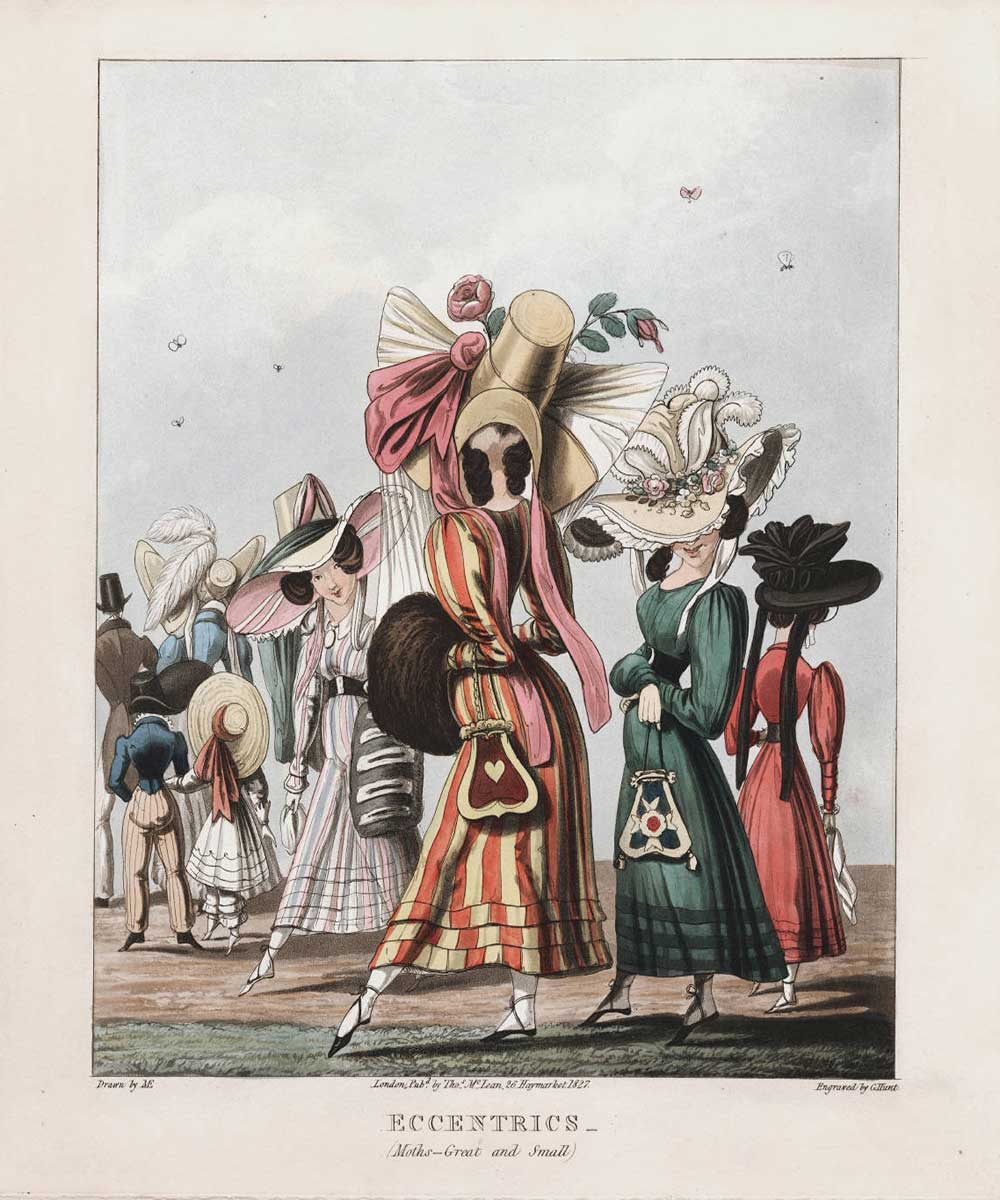 A cartoon on fashionable ladies talking a stroll, wearing eccentric hats and dresses