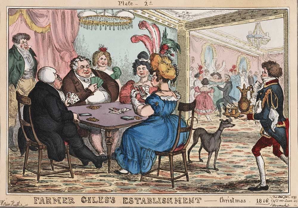 A cartoon on a party place, with people playing cards and dancing