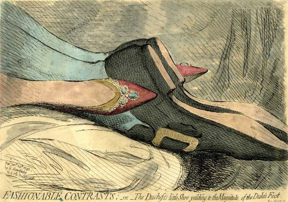 A cartoon on the 18th century Duke and Duchess of York in an obviously copulatory position, showing only their fashionable contrasting shoes