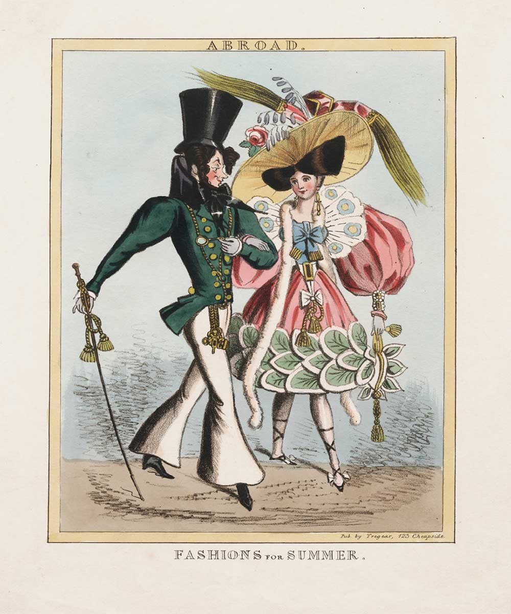 A cartoon on fashions for summer. A couple talking a stroll fashionable dressed