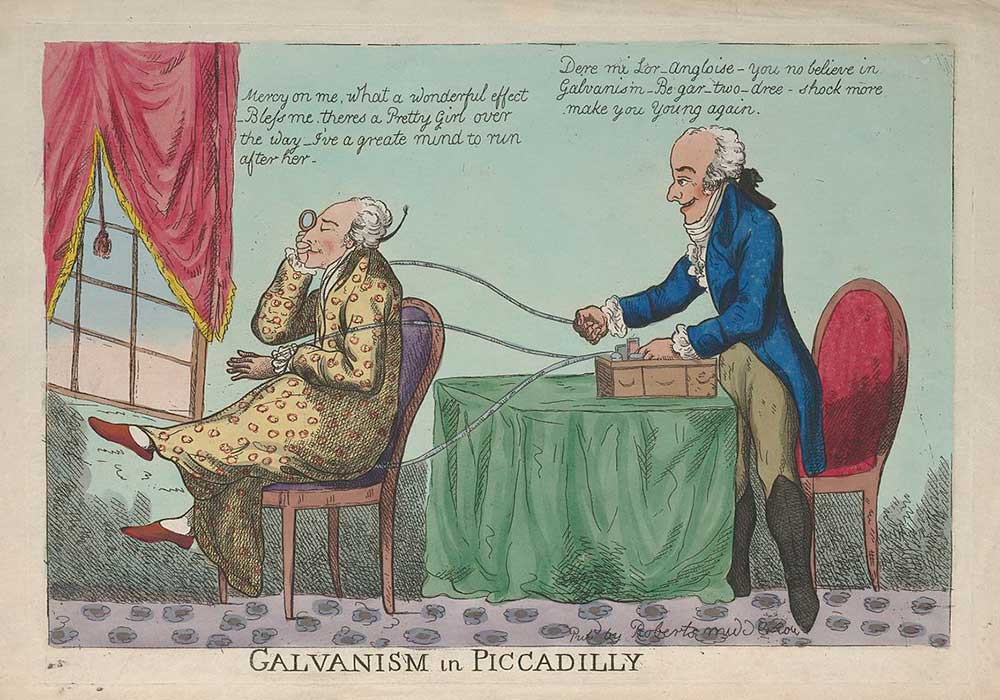 A cartoon on galvanism. A man receives electric therapy from a quack doctor.