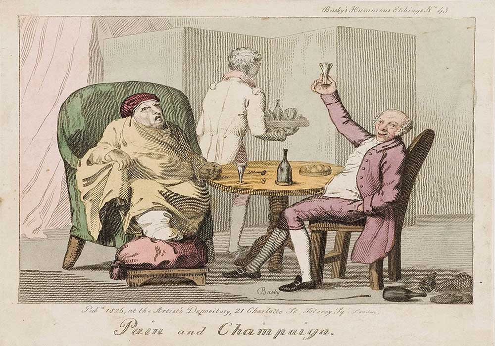 A cartoon on man in pain with gout and a bon vivant drinking champagne together