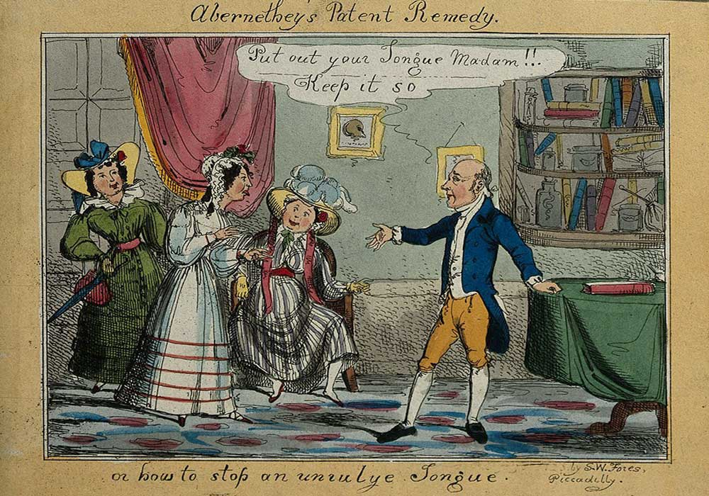 A cartoon on a man with a remedy for a young lady's unruly tongue