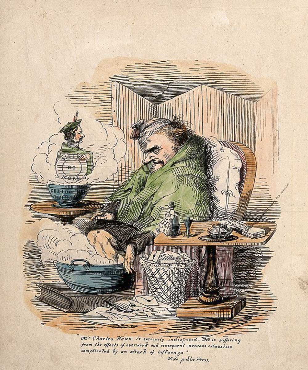A cartoon an man man who is very ill with flu. Sitting upright not being able to sleep.