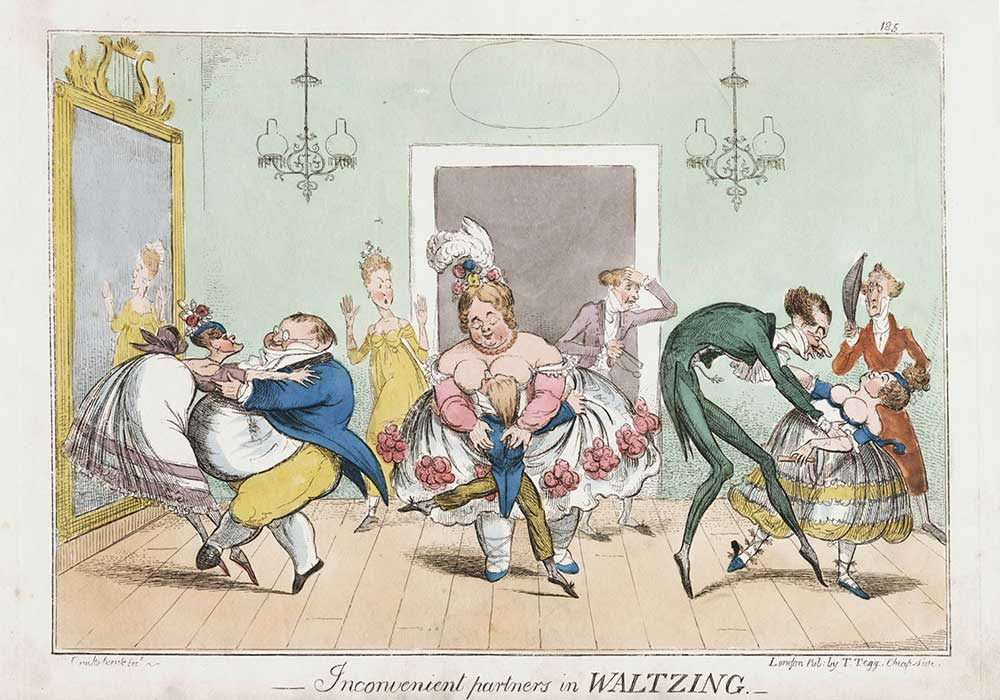 A cartoon on inconvenient dancing partners. Fat dancing with skinny, tall with short and large with tiny