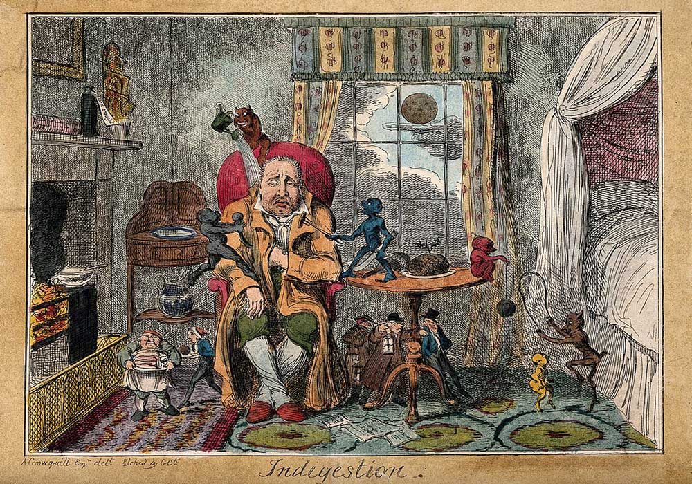 A cartoon on a man suffering with indigestion being tormented by little devils