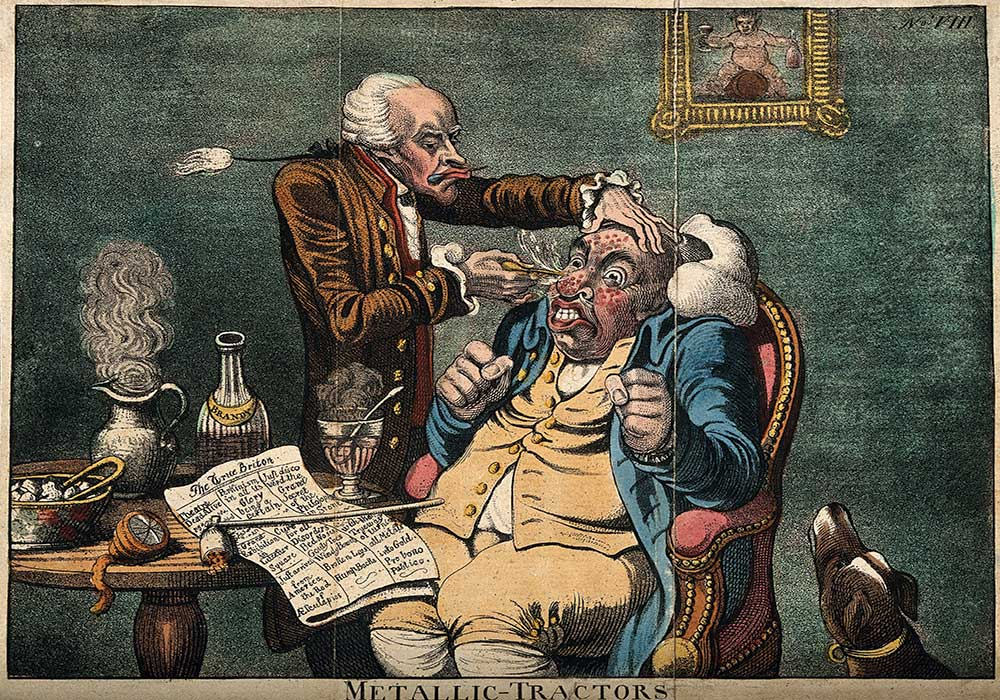 A cartoon on a doctor treating boils on a man's nose with metallic tractors