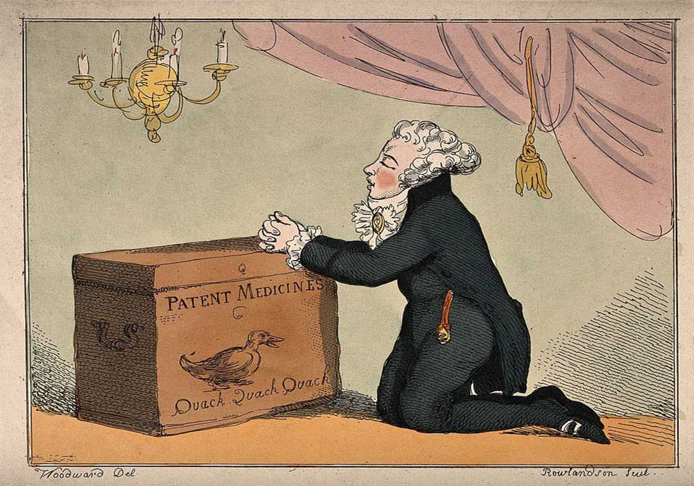 A cartoon on a medicine vendor praying on his box of patent medicines