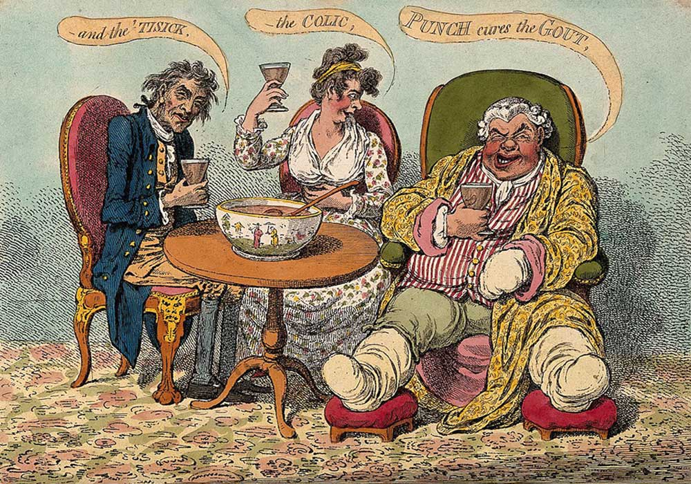 A cartoon on punch that cures various afflictions like the gout, a cough and colic