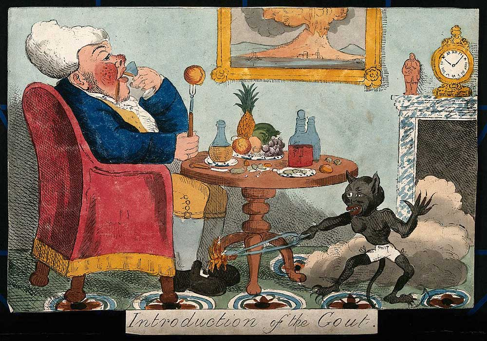 A cartoon a self-indulgent man with gout. A little devil hurting his foot.