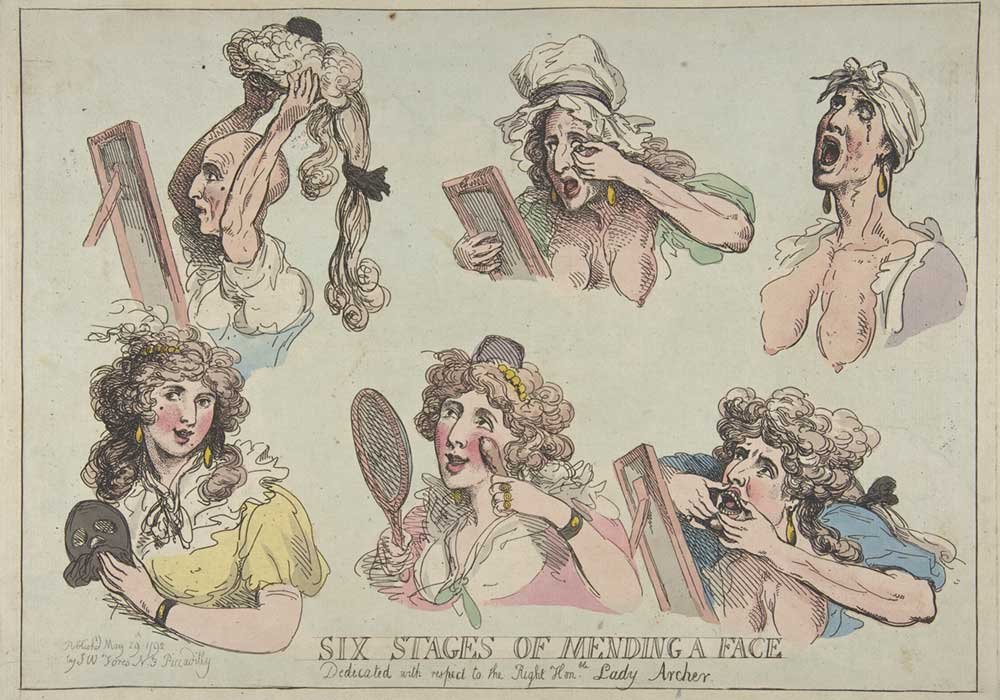 A cartoon on making oneself pretty in six stages of mending a face. From putting on eye-lashes, a wig, false teeth to make-up, dress and jewelry