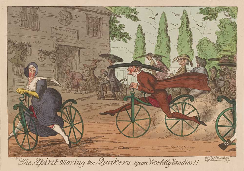A cartoon on quakers riding bicycles