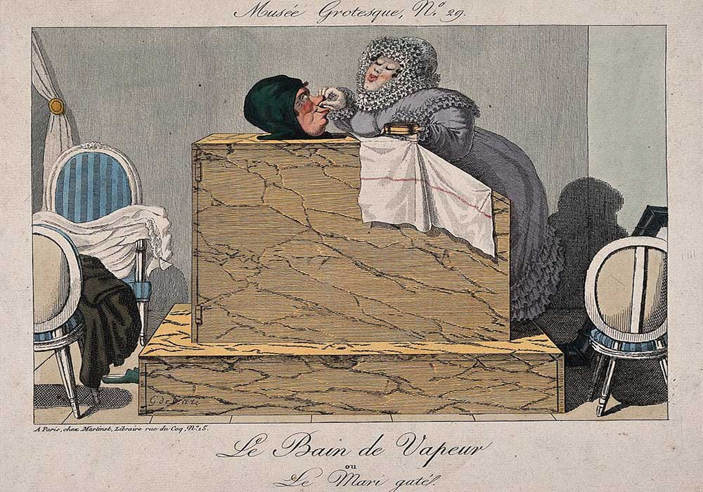 A cartoon on a woman pampering a man in a steam bath