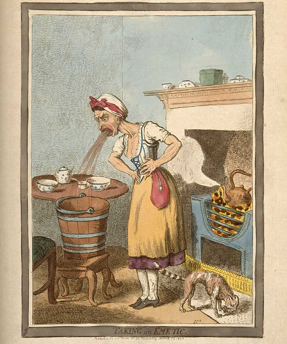 A cartoon on a woman throwing up after self administering an emetic