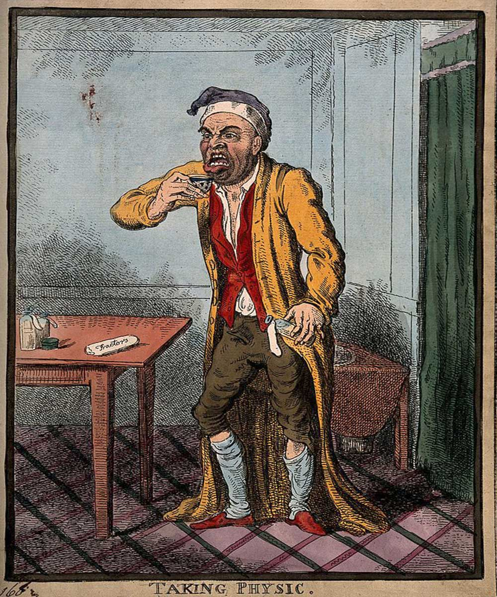 A cartoon on a man pulling a face as he is about to take some medicine