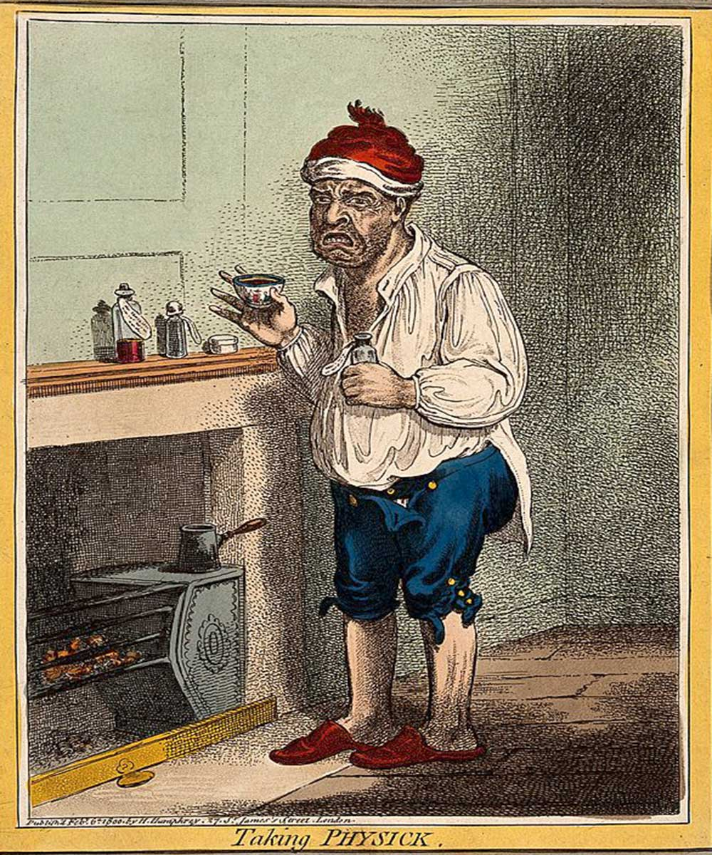 A cartoon on a man pulling a face after taking some medicine