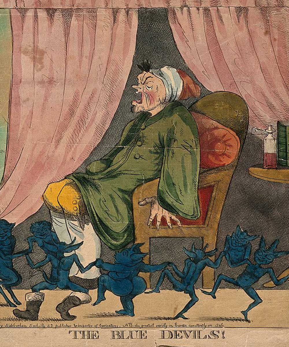 A cartoon an a man suffering from gout, little blue devils happily dancing around him
