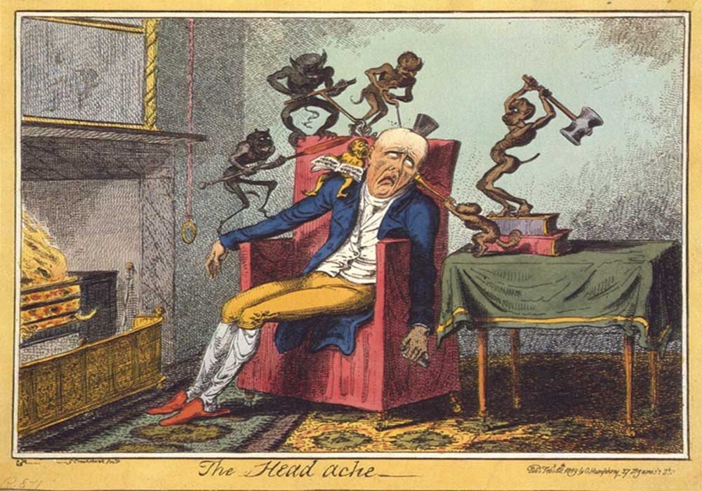 A cartoon on the headache. Little devils hurting a man's head in all sorts of manner.