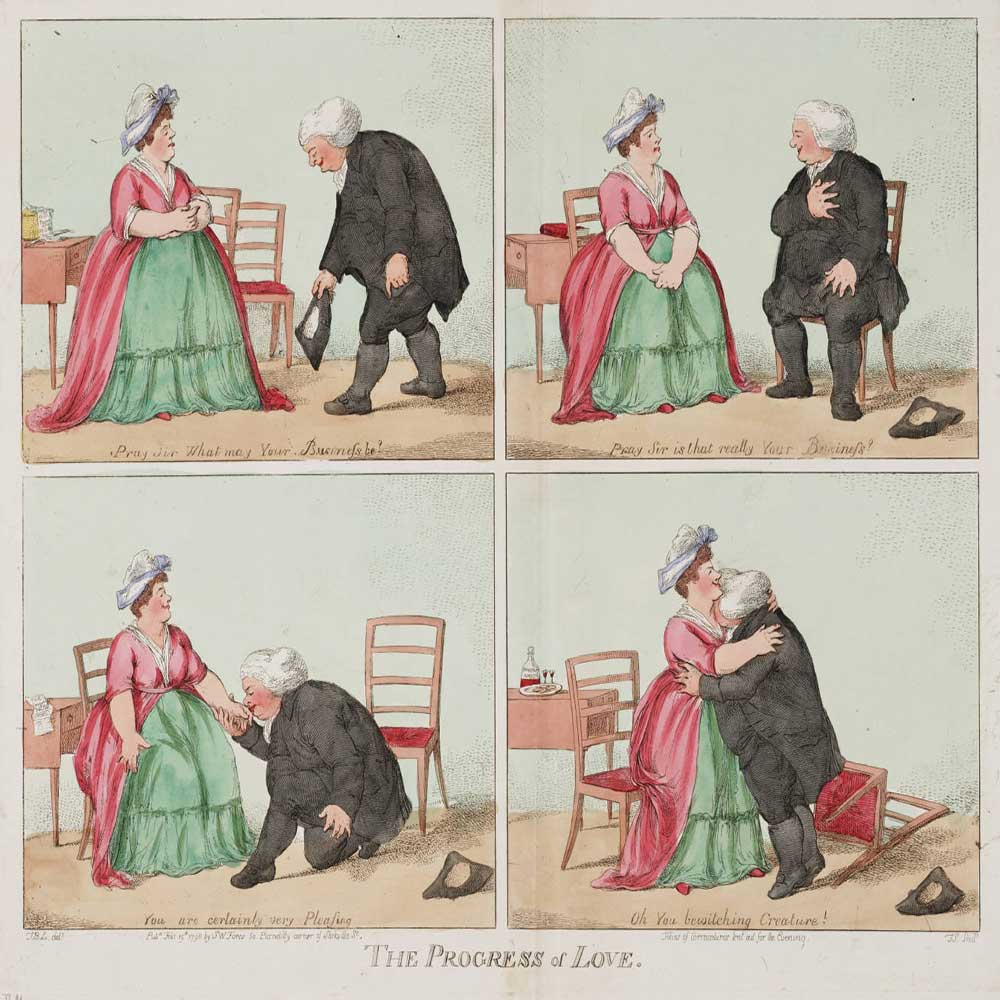 A man going through the stages of courting a woman, with result
