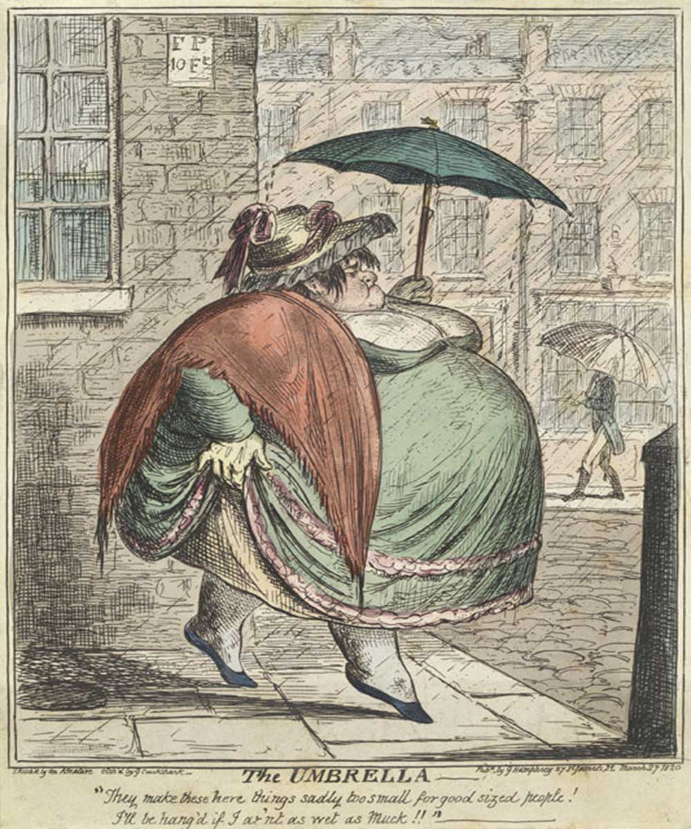 A cartoon on a very fat lady with an umbrella to small for her size, walking in the rain