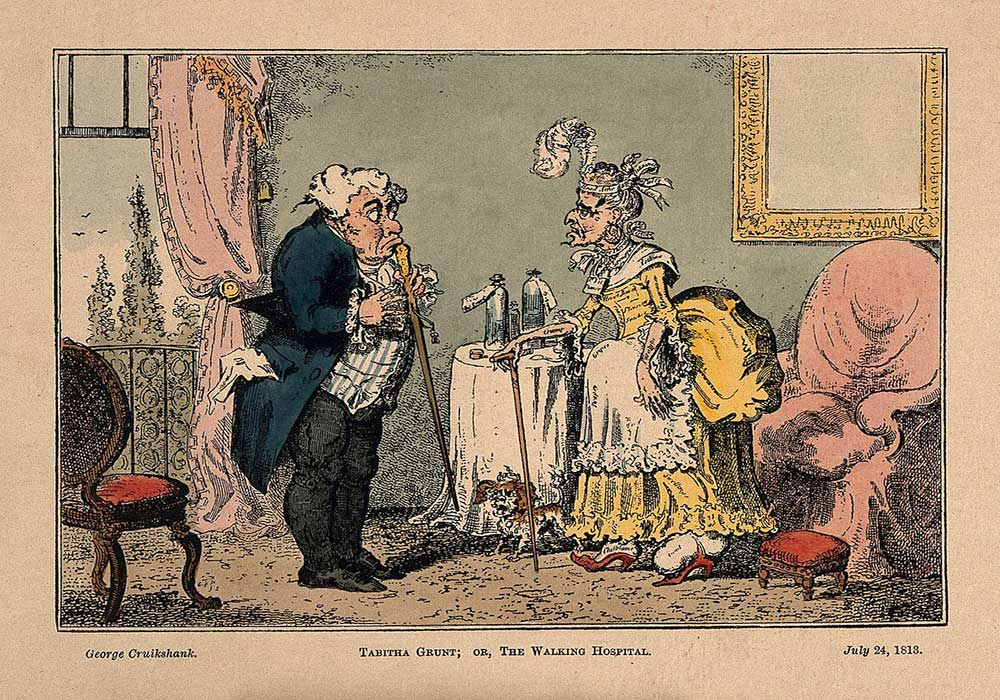 A cartoon on a hypochondriac lady, who appears to be suffering from many illnesses, consulting her doctor