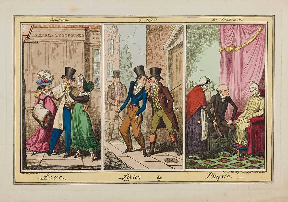 A cartoon on three London scenes. A man with two prostitutes, a man being accosted by debt-collectors and a doctor visiting a patient.