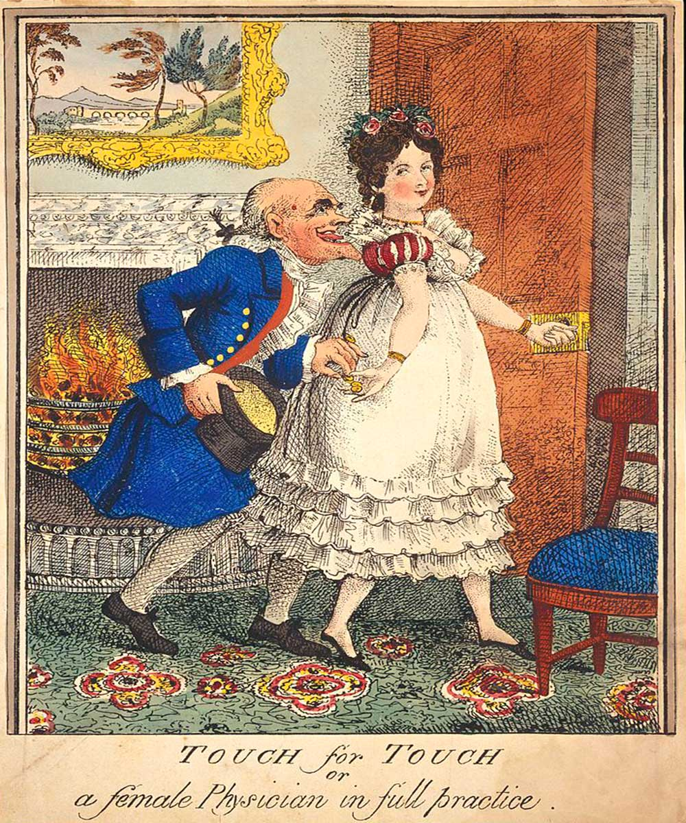 A cartoon on an old man with lust in his eyes being led into a room by a prostitute