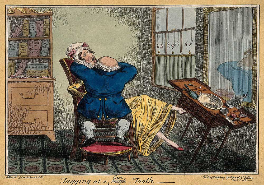 A cartoon on a dentist tugging at a tooth of a lady. The lady is in agony with pain and kicks over his working table.