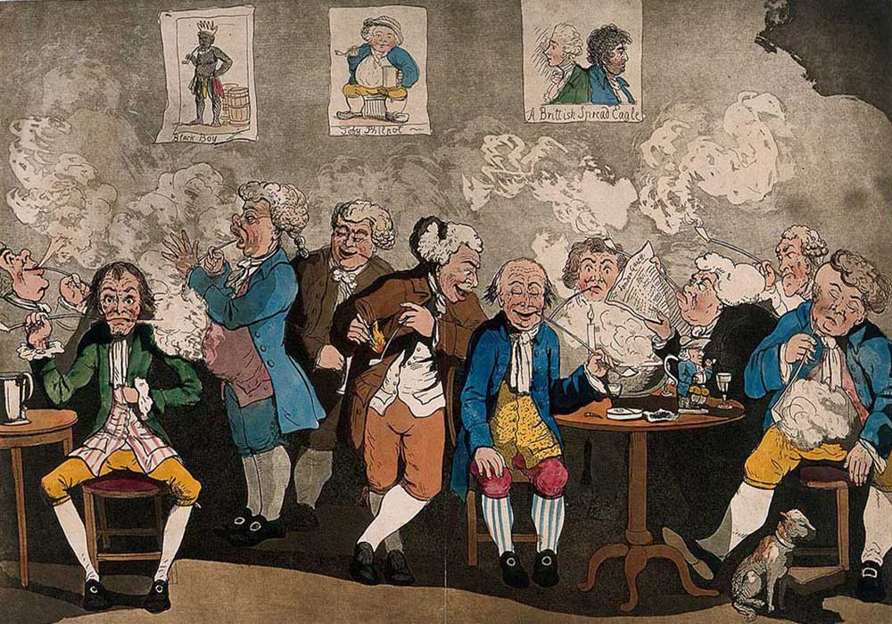A cartoon on gentlemen smoking, drinking and reading at their club